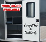 Campfires & Cocktails RV Door or Slide Vinyl Sticker Decal Graphics