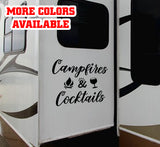 Campfires & Cocktails RV Door or Slide Vinyl Sticker Decal Graphic