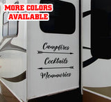 Campfires Cocktails Memories RV Door or Slide Vinyl Sticker Decal Graphic