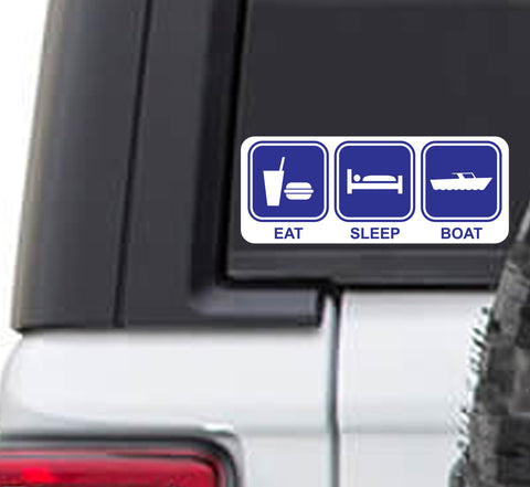 Eat Sleep Boat Vinyl Sticker Decal | Boating Lake Life