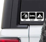 Eat Sleep Camp Vinyl Sticker Decal | Camping RV