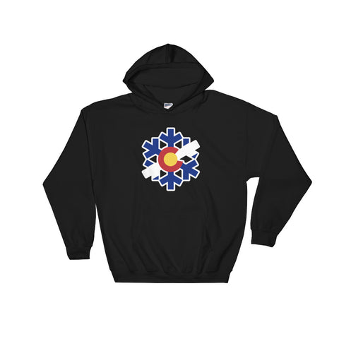 Colorado State Flag Snowflake Hoodie Hoody - (S-5XL) | Snow Flake Hooded sweatshirt