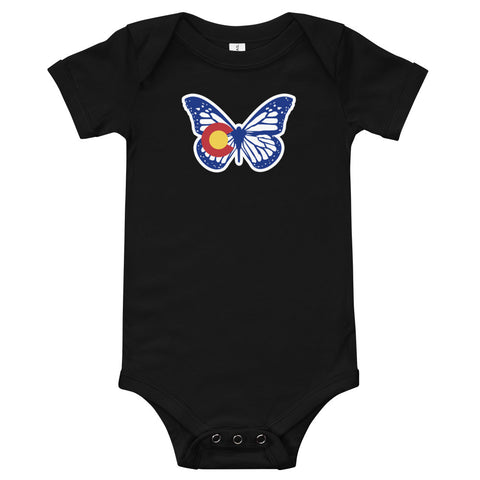 Colorado State Flag Butterfly Baby Onesie | Colorado Baby Onesies