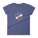 Women's Colorado State Flag Snowflake short sleeve t-shirt - (S-2XL) | Snow Flake