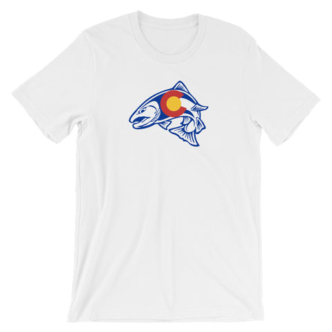 Rainbow Trout Fishing Colorado State Flag T-shirt - (S-4XL) | fly fishing shirt