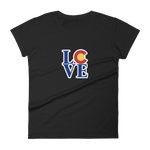 Women's Colorado State Flag LOVE short sleeve t-shirt - (S-2XL) | Colorado Love Shirt