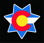 Colorado State Flag 7 Star Sheriff's Badge Vinyl Sticker Decal