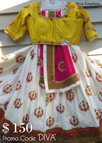 Yellow and White Chaniya Choli | Garba 2018 Collection