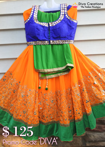 Orange an Blue Chaniya Choli | Garba 2018 Collection