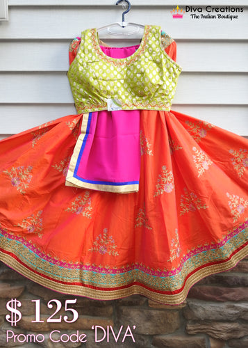 Orange and Green Chaniya Choli | Garba 2018 Collection