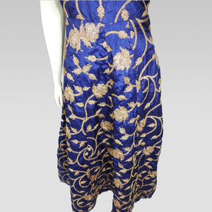 Gaun Style Blue and Gold Dress
