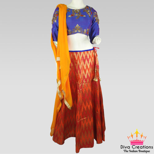Blue and Orange Chaniya Choli | Garba 2018 Collection
