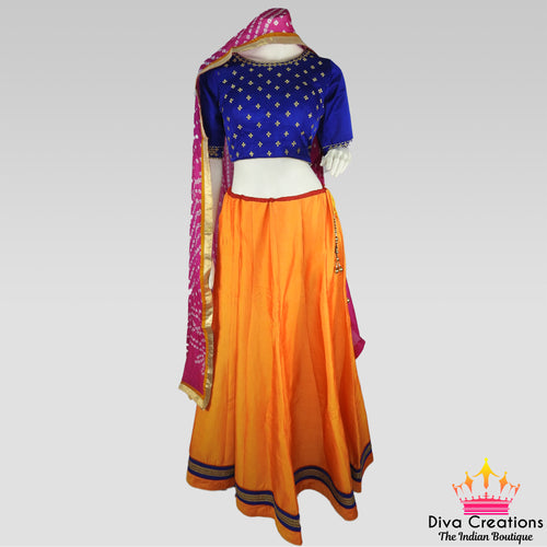 Simple Blue and Orange Chaniya Choli | Garba 2018 Collection