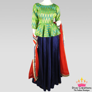 6dea8e4fd0ab1 Modern Blue and Green Chaniya Choli