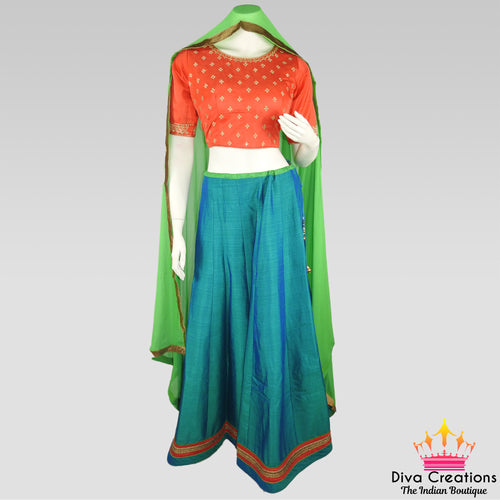 Simple Orange and Blue Chani Choli| Garba 2018 Collection