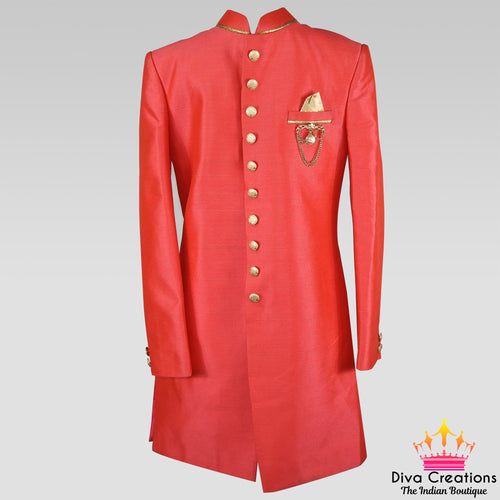 Silk Sherwani (Peach Red|Pista Green|Maroon|Blue|Dark Blue)