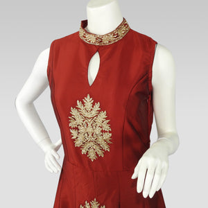 Gaun Style Red Dress with Pattern