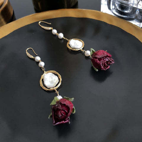 Beauty and the Beast - Immortal Rose and Freshwater Pearl Earrings