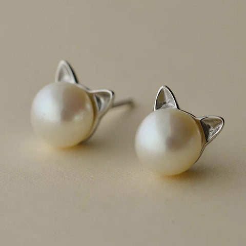 Image of Cat Ear Freshwater Pearl Earrings