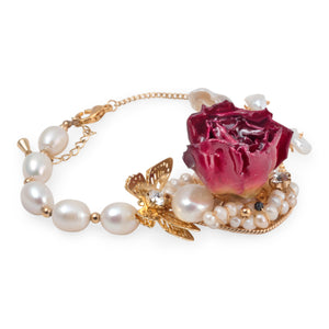 Beauty and the Beast - Immortal Rose and Freshwater Pearl Bracelet