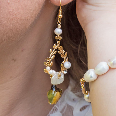 Spring Love - Immortal Rose and Freshwater Pearl Earrings