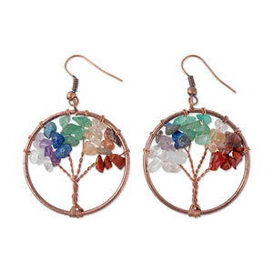 Tree of Life Crystal Pendant Earrings