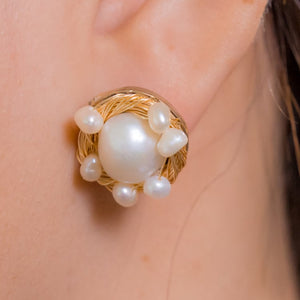 Bird's Nest - Freshwater Pearl Earrings