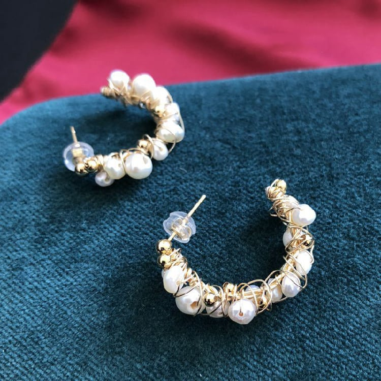 Crescent Moon - Freshwater Pearl Earrings
