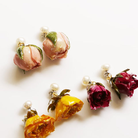 Little Bud - Immortal Rose Earrings/Clip