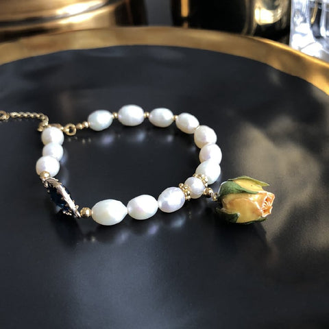 Spring Love - Immortal Rose and Freshwater Pearl Bracelet