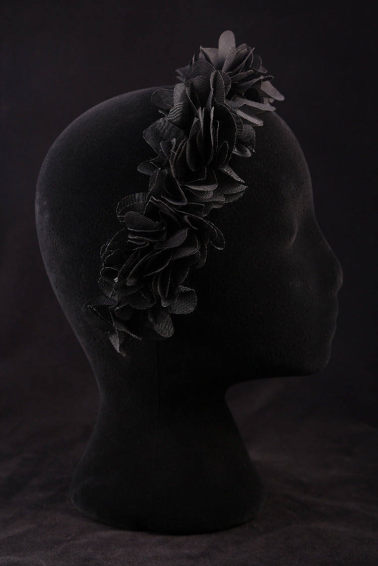 """Black Silk Flower"" Satin Headband"