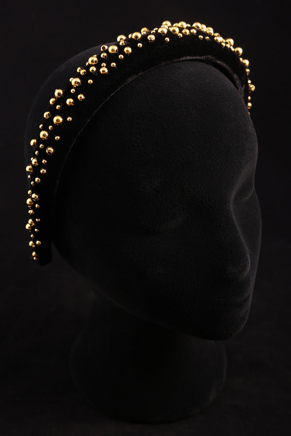 """Gold Pearl"" Large Velvet Headband"