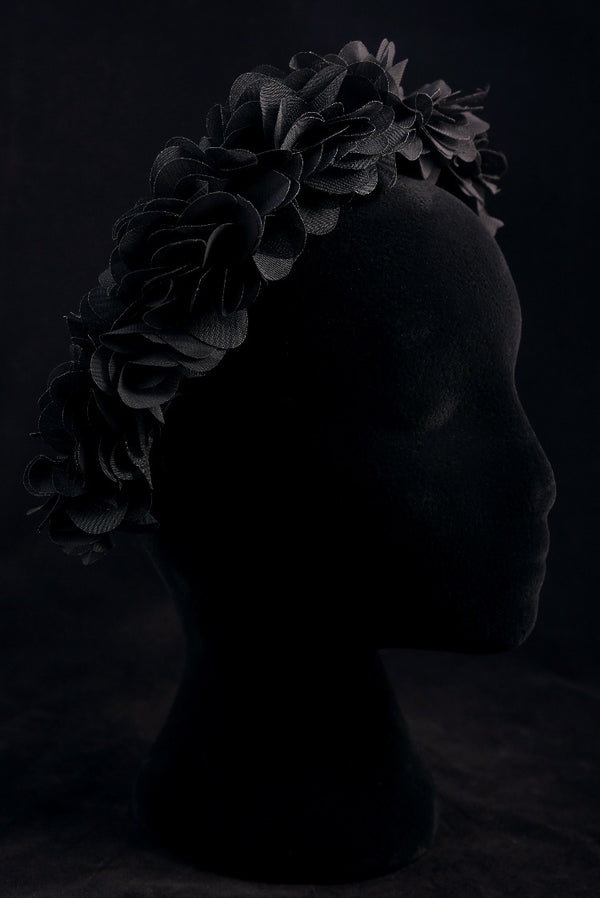 """Black Silk Flower"" Velvet Headband"