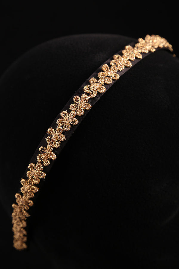 """Gold Flower Adornment"" Small Satin Headband"