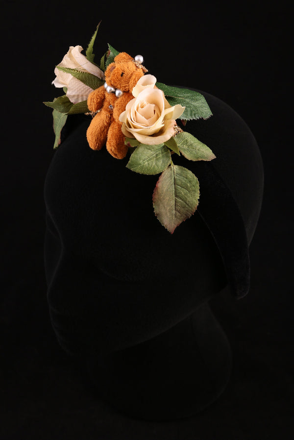 """Roses and Teddy Bear"" Large Velvet Headband"