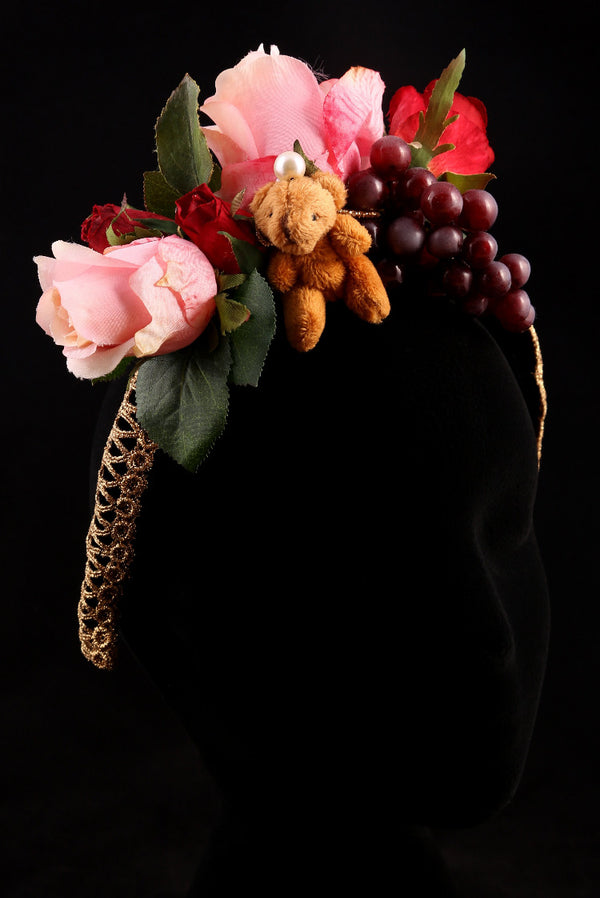 """Roses, Grapes and Teddy Bear"" Large Velvet Headband"