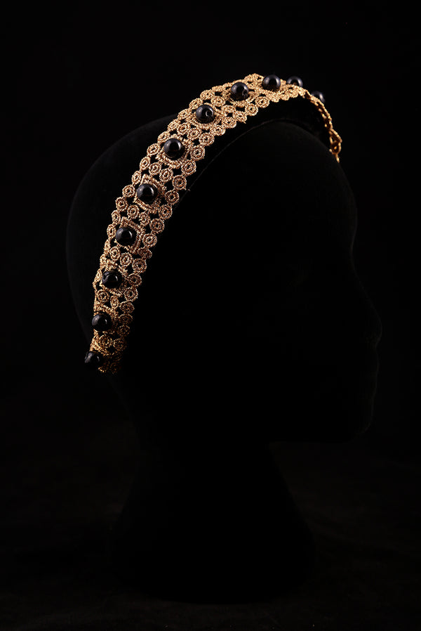 """Gold Adornment and Black Pearl"" Large Velvet Headband"