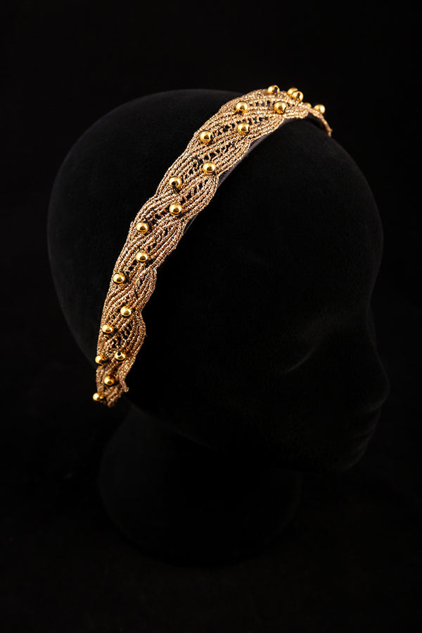 """Gold Adornment and Gold Pearl"" Large Satin Headband"