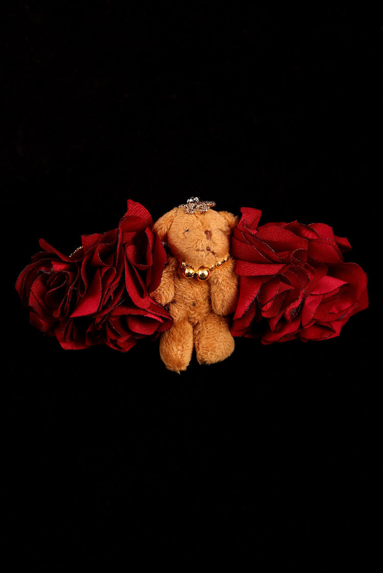 """Silk Rose and Teddy Bear"" Barrette"