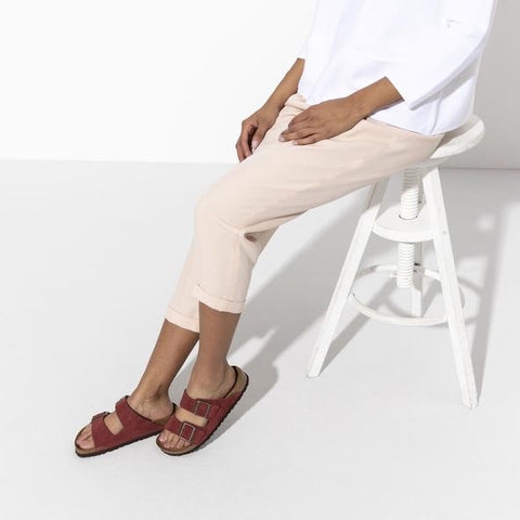 Woman Wearing Red Arizona Birkenstock