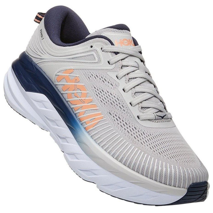 HOKA ONE ONE BONDI 7 WOMEN'S (may come in as multiply widths) F20 Sneakers & Athletic Shoes Hoka One One LUNAR ROCK/BLK IRIS 5 B