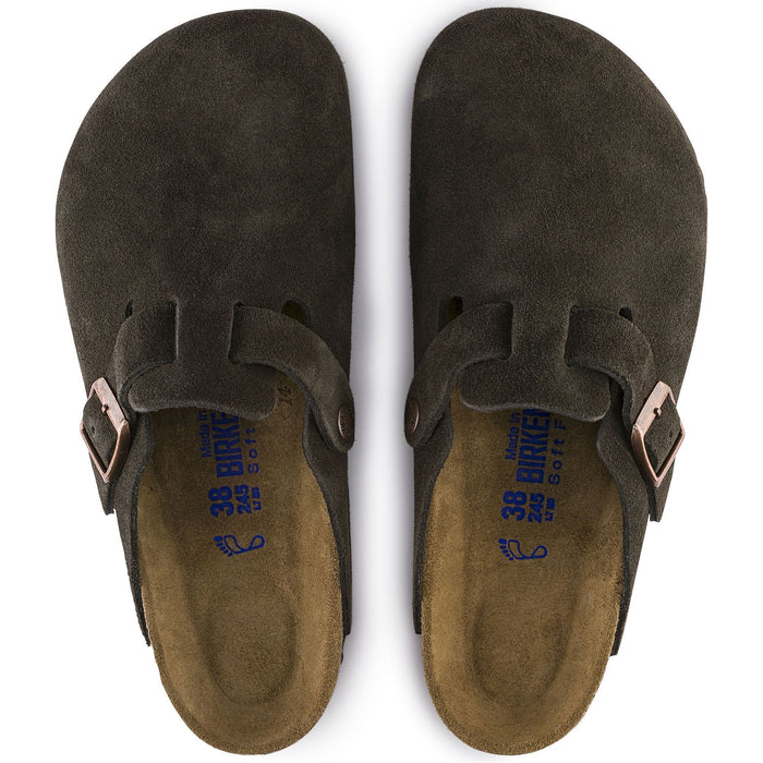 Birkenstock Boston Soft Footbed Mocha Suede Leather Unisex - danformshoesvt