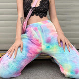 Rainbow Tie-Dye Fleece Jogger Pants