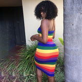 Rainbow Stripe Strapless Dress