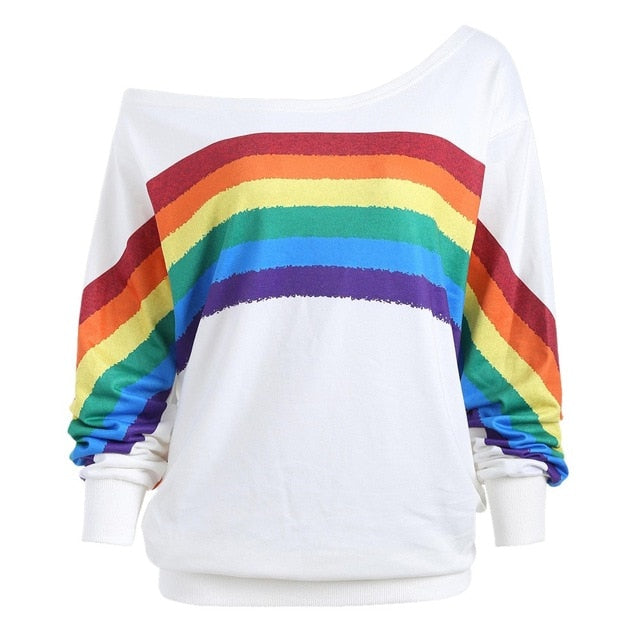 Off the Shoulder Rainbow Sweatshirt