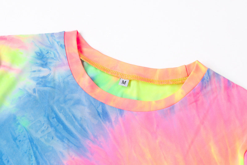 Rainbow Tie-Dye Bodycon T-shirt Dress