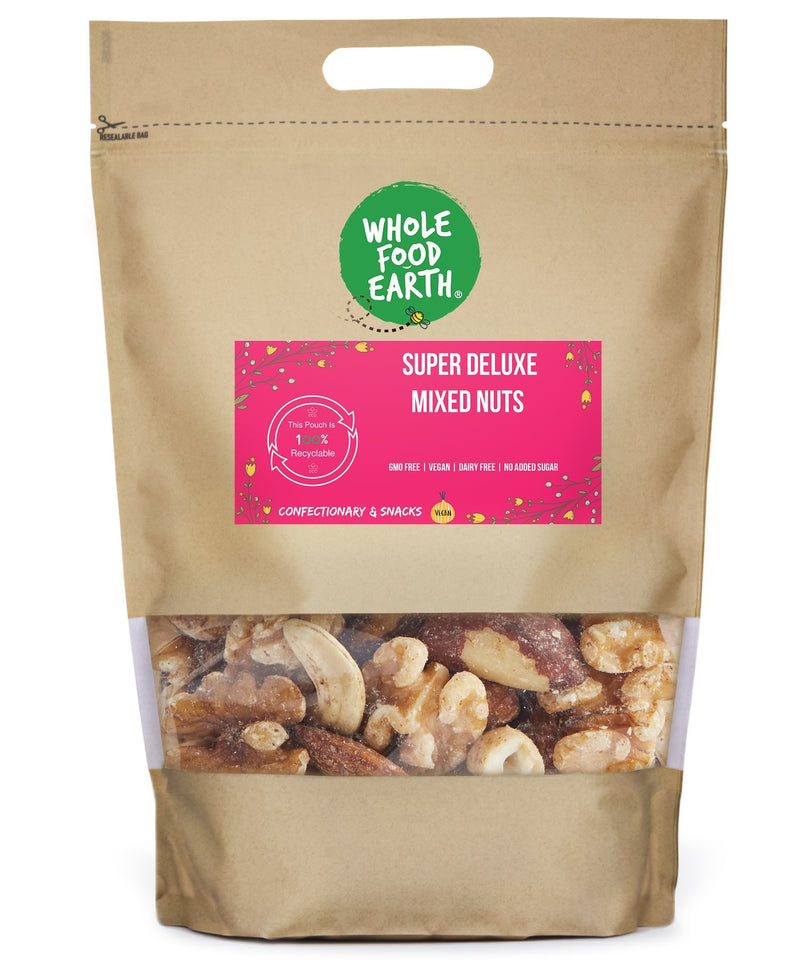 Wholefood Earth: Super Deluxe Mixed Nuts | GMO Free | Vegan | Dairy Free | No Added Sugar - Wholefood Earth® - 5056351403835