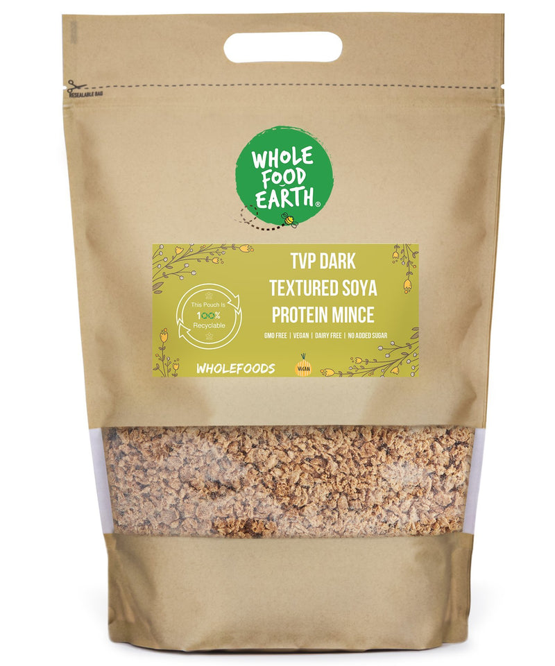 Wholefood Earth: TVP Dark Textured Soya Protein Mince | GMO Free | Vegan | Dairy Free | No Added Sugar - Wholefood Earth® - 5056351408144