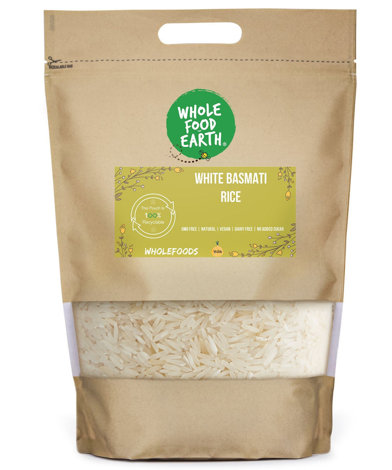 Wholefood Earth: White Basmati Rice | GMO Free | Natural | Vegan | Dairy Free | No Added Sugar - Wholefood Earth® - 5056351402586