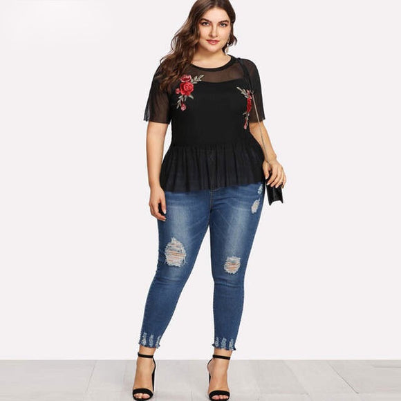 Embroidered Rose Mesh Top